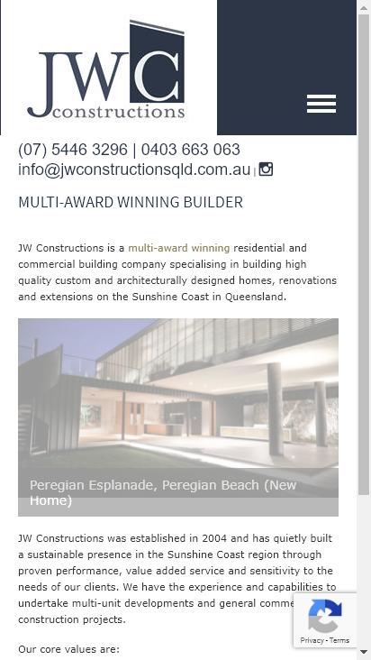 Screenshot mobile - https://www.jwconstructionsqld.com.au/