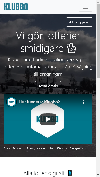 Screenshot mobile - https://klubbo.se/start