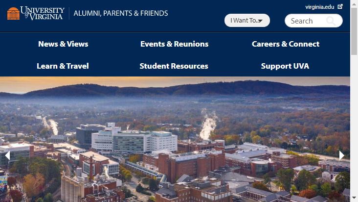 Screenshot mobile landscape - https://alumni.virginia.edu/