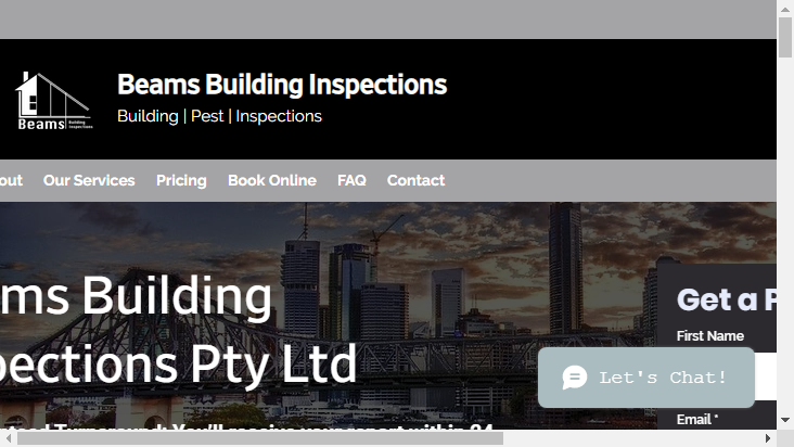 Screenshot mobile landscape - https://beamsbuildinginspections.com.au/