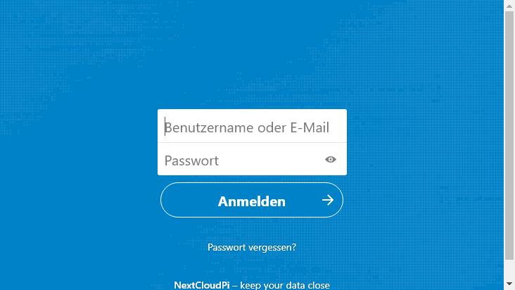 Screenshot mobile landscape - https://buelowcloud.psybnc.org/index.php/login