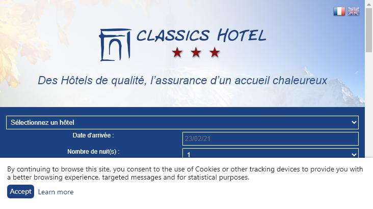 Screenshot mobile landscape - https://classics-hotel.com/