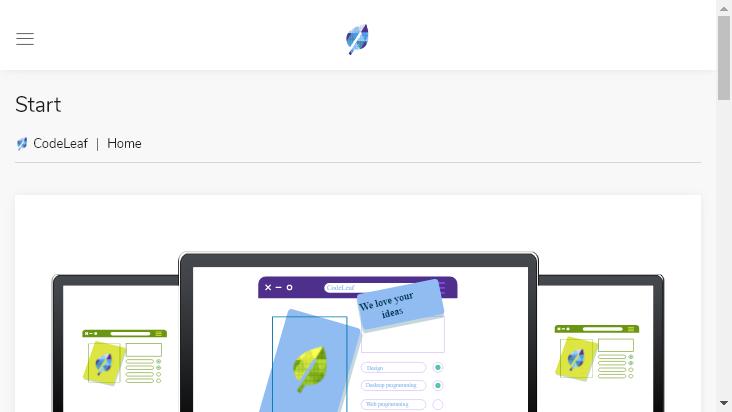 Screenshot mobile landscape - https://codeleaf.net/