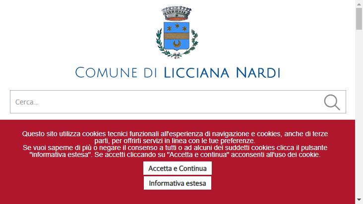 Screenshot mobile landscape - https://comunelicciananardi.ms.it/
