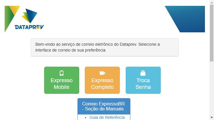 Screenshot mobile landscape - https://correio.datapras.com.br/
