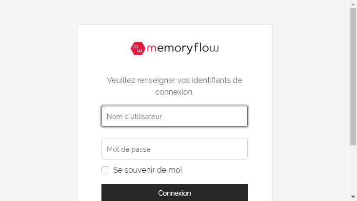 Screenshot mobile landscape - https://dunlop.memory-flow.fr/login