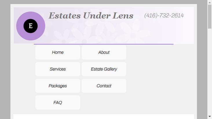 Screenshot mobile landscape - https://www.estatesunderlens.ca/