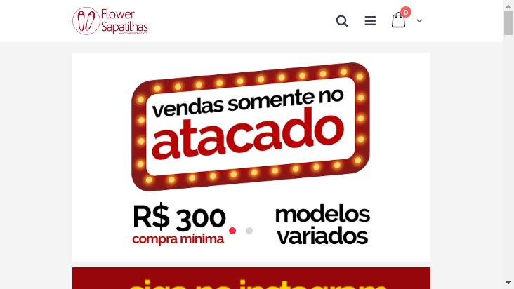 Screenshot mobile landscape - https://www.flowersapatilhas.com.br/