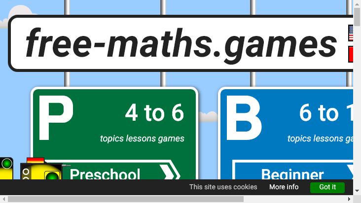 Screenshot mobile landscape - https://free-maths.games/