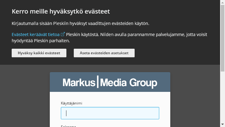 Screenshot mobile landscape - https://hallinta.markusmediagroup.fi:8443/login_up.php?success_redirect_url=https%3A%2F%2Fhallinta.markusmediagroup.fi%3A8443%2F
