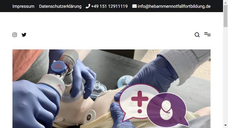 Screenshot mobile landscape - https://www.hebammennotfallfortbildung.de/