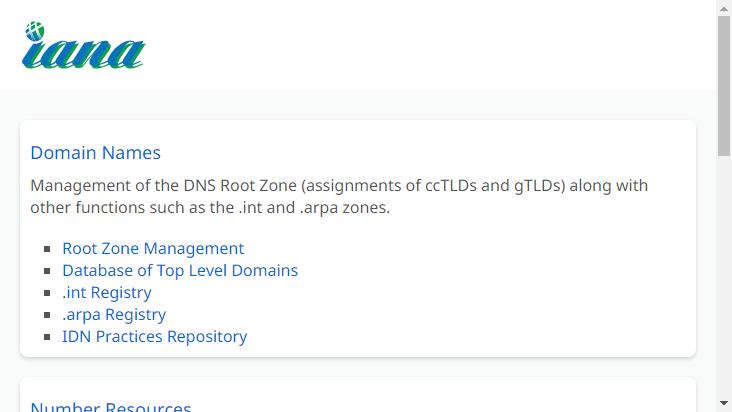 Screenshot mobile landscape - https://www.iana.org/