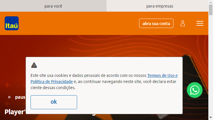 Screenshot mobile landscape - https://www.itau.com.br/