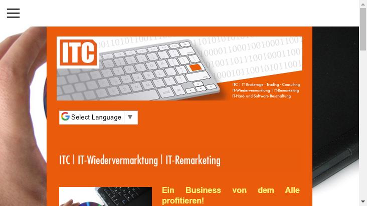 Screenshot mobile landscape - https://www.itc-brokerage.de/