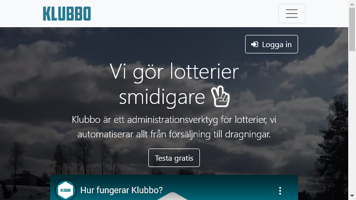 Screenshot mobile landscape - https://klubbo.se/start