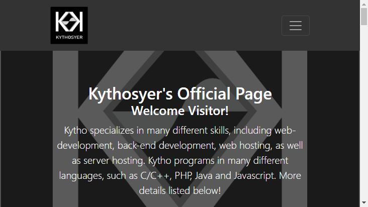 Screenshot mobile landscape - https://kythosyer.com/