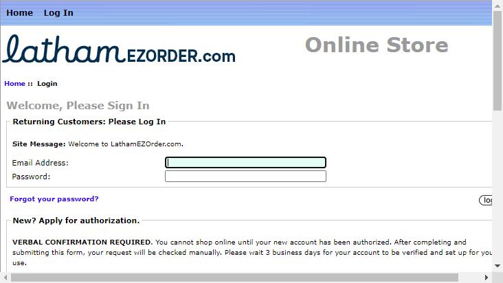 Screenshot mobile landscape - https://lathamezorder.com/index.php?main_page=login&zenid=64d03f8165143eb076b49418f6490e5a