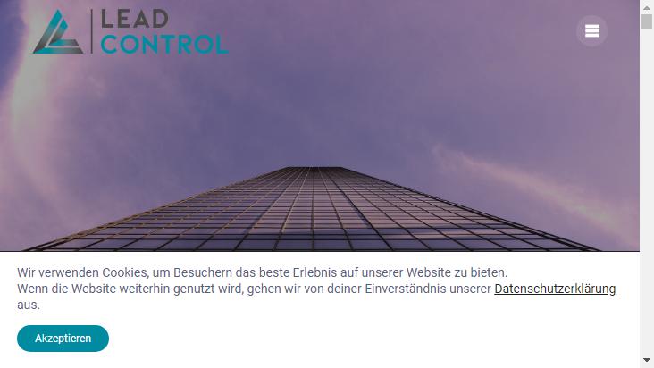 Screenshot mobile landscape - https://www.lead-control.de/