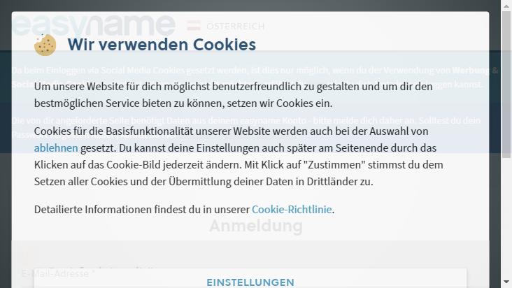 Screenshot mobile landscape - https://my.easyname.at/de/anmelden
