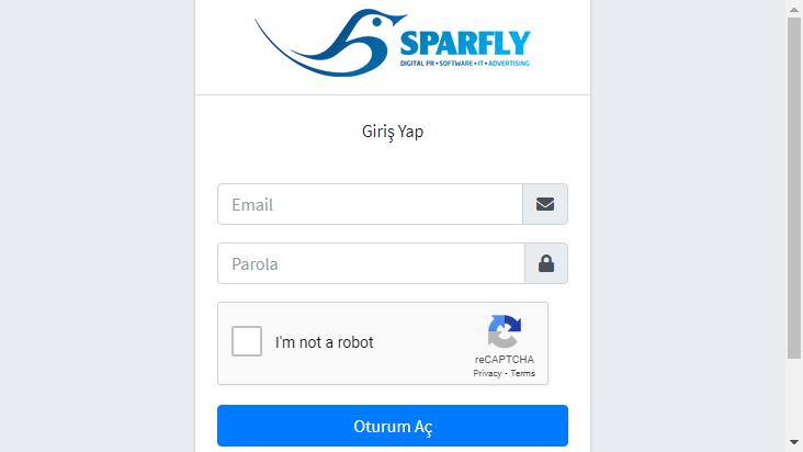 Screenshot mobile landscape - https://panel.sparfly.com.tr/Account/Login?ReturnUrl=%2F