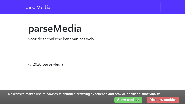 Screenshot mobile landscape - https://www.parsemedia.nl/