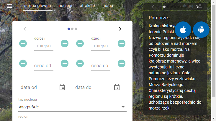 Screenshot mobile landscape - https://pomorze.travel/
