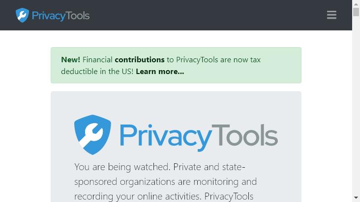 Screenshot mobile landscape - https://www.privacytools.io/