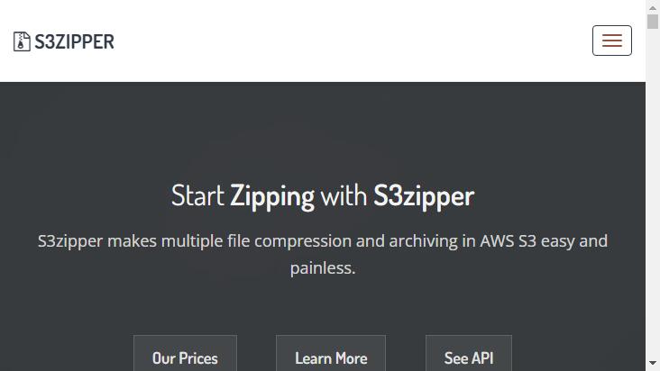 Screenshot mobile landscape - https://s3zipper.com/