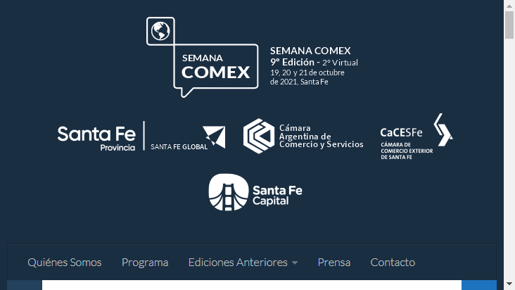 Screenshot mobile landscape - https://www.semanacomex.com.ar/