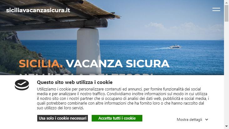 Screenshot mobile landscape - https://www.siciliavacanzasicura.it/