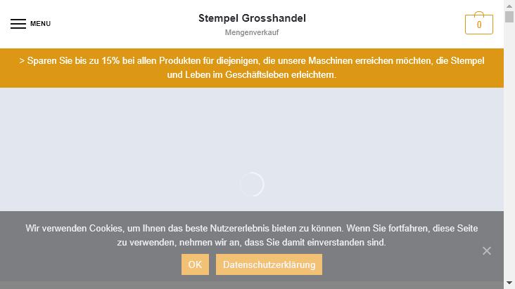 Screenshot mobile landscape - https://www.stempelgrosshandel.de/