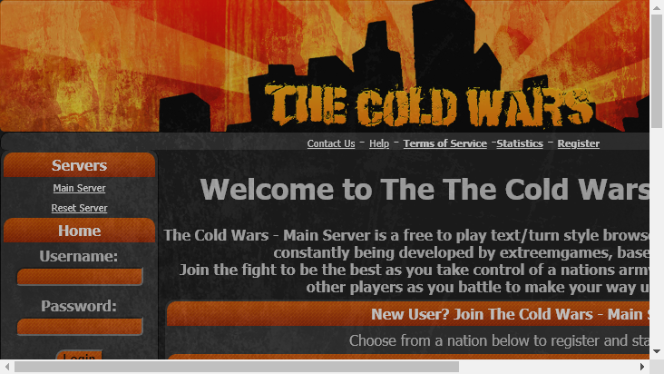 Screenshot mobile landscape - https://www.thecoldwars.net/