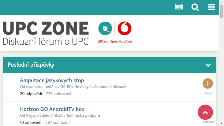 Screenshot mobile landscape - https://www.upczone.cz/