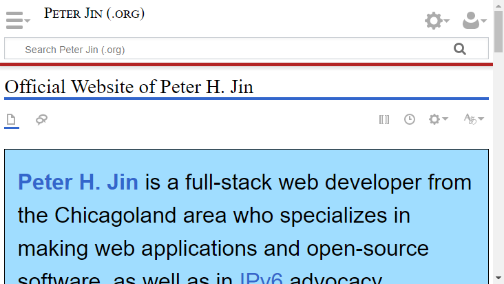 Screenshot mobile landscape - https://website.peterjin.org/wiki/Home