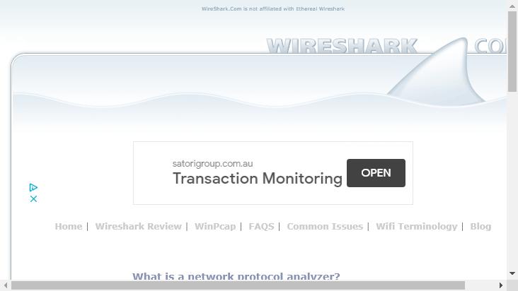 Screenshot mobile landscape - https://wireshark.com/