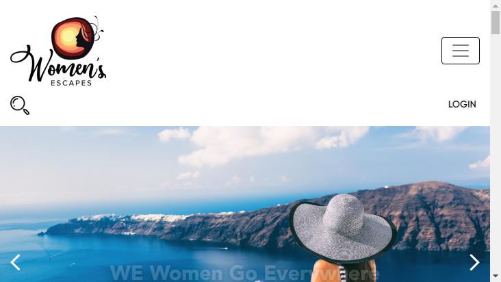 Screenshot mobile landscape - https://womensescapes.com/
