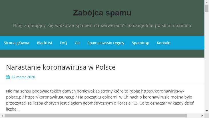Screenshot mobile landscape - https://zabojcaspamu.pl/
