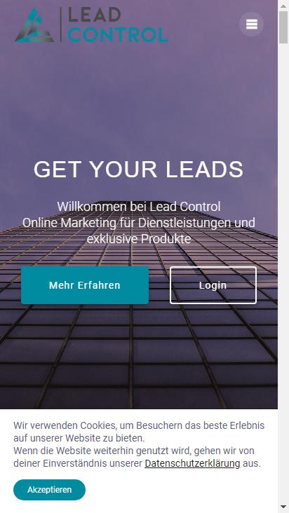 Screenshot mobile - https://www.lead-control.de/