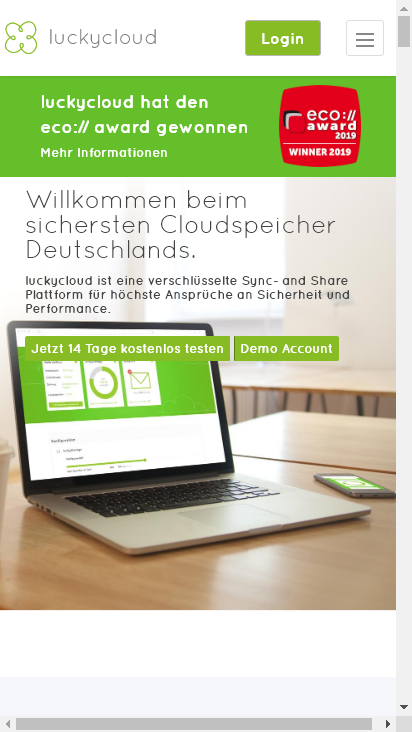 Screenshot mobile - https://luckycloud.de/de/
