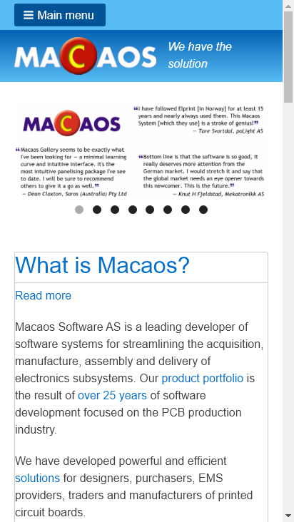 Screenshot mobile - https://macaos.com/