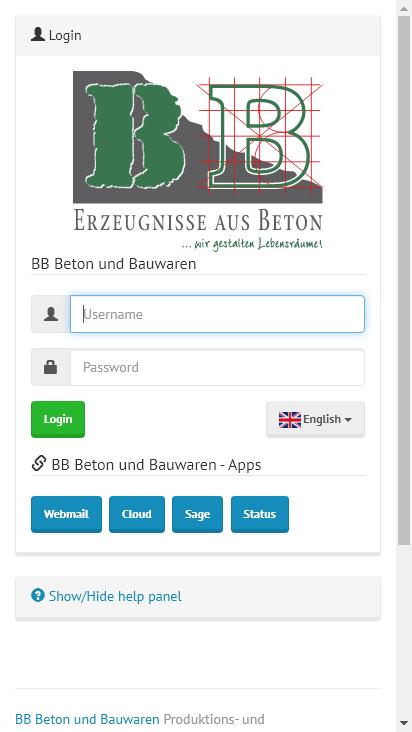 Screenshot mobile - https://mail.bbbeton.de/