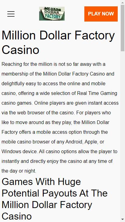 Screenshot mobile - https://www.milliondollarfactory.com/