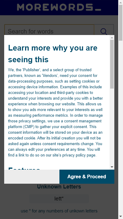 Screenshot mobile - https://www.morewords.com/