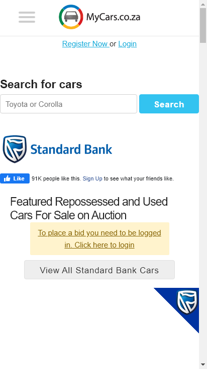 Screenshot mobile - https://www.mycars.co.za/