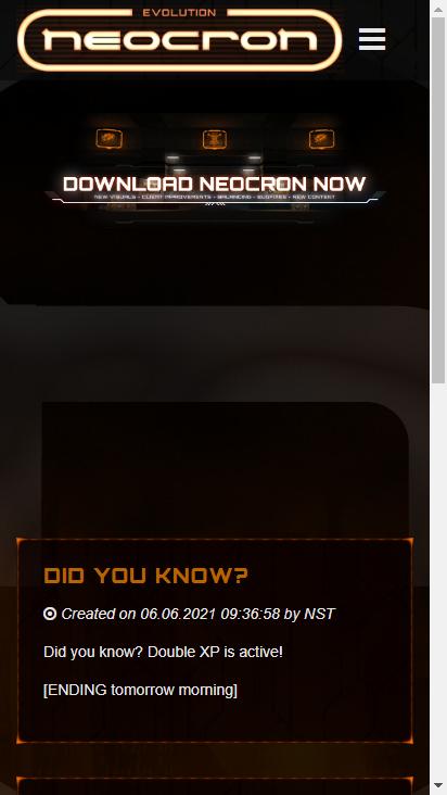 Screenshot mobile - https://neocron-game.com/