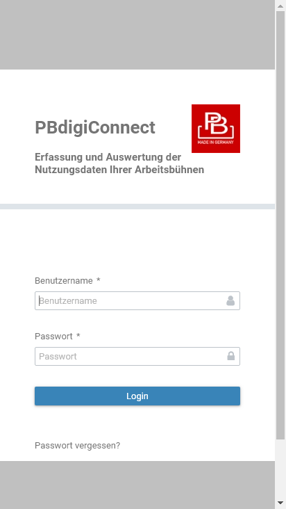 Screenshot mobile - https://new.pbdigiconnect.de/login.xhtml