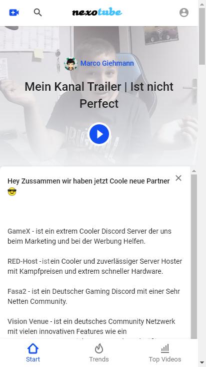Screenshot mobile - https://www.nexotube.de/