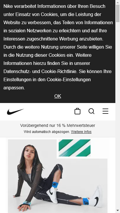Screenshot mobile - https://www.nike.com/de/