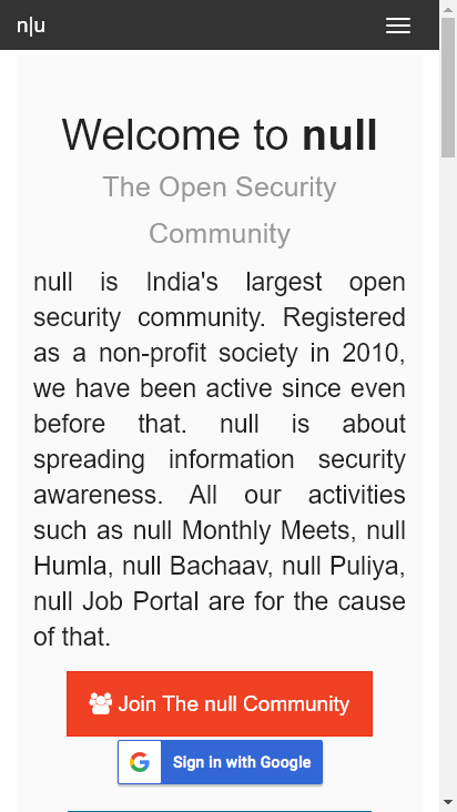 Screenshot mobile - https://null.community/