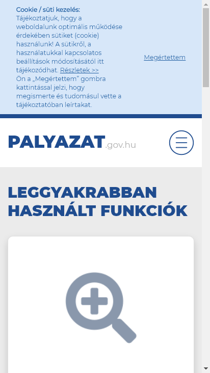 Screenshot mobile - https://www.palyazat.gov.hu/
